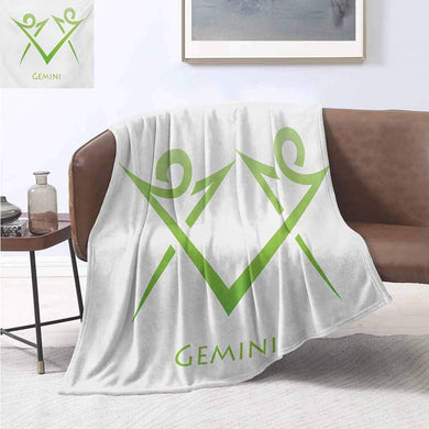 smllmoonDecor Zodiac Gemini Custom Design Cozy Flannel Blanket Illustration of Simplistic Lines Abstract Human Figures in Green Velvet Plush Throw Blanket 50