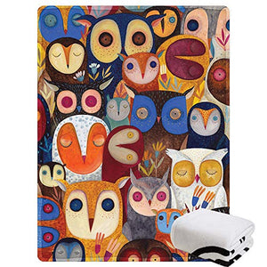 "Morebee Owl Collage Fleece Throw Blanket Custom Design Soft Lightweight Blanket for Couch Sofa or Bed for Kids Girls Boys Adults(30""x 45"")"