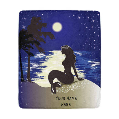 MyPupSocks Custom Text Mermaid Sitting Ashore at Night Your Name Throw Blanket Ultra-Soft Micro Cozy Fleece Blanket 50 X 60 Inches for Couch Sofa or Bed Travelling