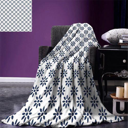 smallbeefly Floral Custom printed Throw Blanket Abstract Style Flower Petals Summer Season Inspired Design in Blue Color Pattern Velvet Plush Throw Blanket Indigo White