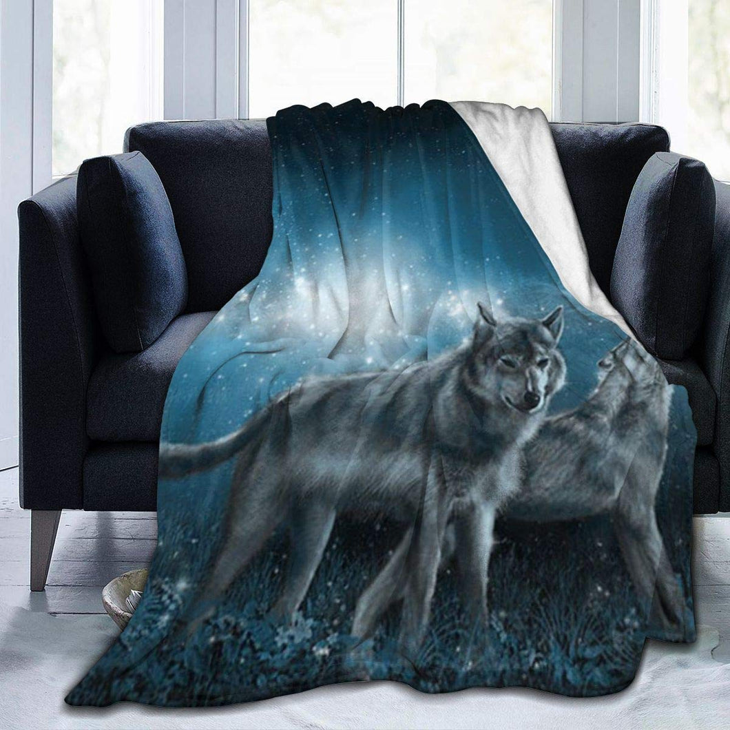 Usie2s Wolf in The Moonlight Custom Fleece Plush Throw Blanket Smooth and Soft Microfiber Blanket Flannel Sofa Chair Bed Blanket Office New Year Gift Men and Women 80