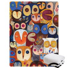 "Load image into Gallery viewer, Morebee Owl Collage Fleece Throw Blanket Custom Design Soft Lightweight Blanket for Couch Sofa or Bed for Kids Girls Boys Adults(30""x 45"")"