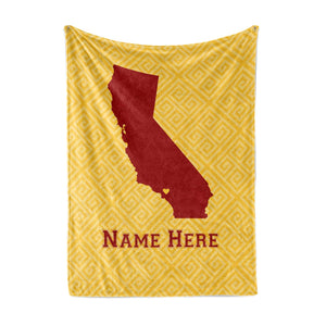 State Pride Series California - Personalized Custom Fleece Throw Blankets with Your Family Name - Los Angeles Edition