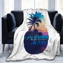 "Load image into Gallery viewer, Usie2s Throw Pineapple and Seaside Custom Fleece Plush Throw Blanket Smooth and Soft Microfiber Blanket Flannel Sofa Chair Bed Blanket Office New Year Gift Men and Women 80""x60"""