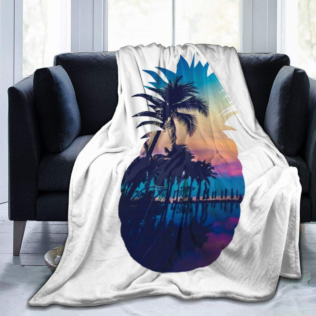 Usie2s Throw Pineapple and Seaside Custom Fleece Plush Throw Blanket Smooth and Soft Microfiber Blanket Flannel Sofa Chair Bed Blanket Office New Year Gift Men and Women 80