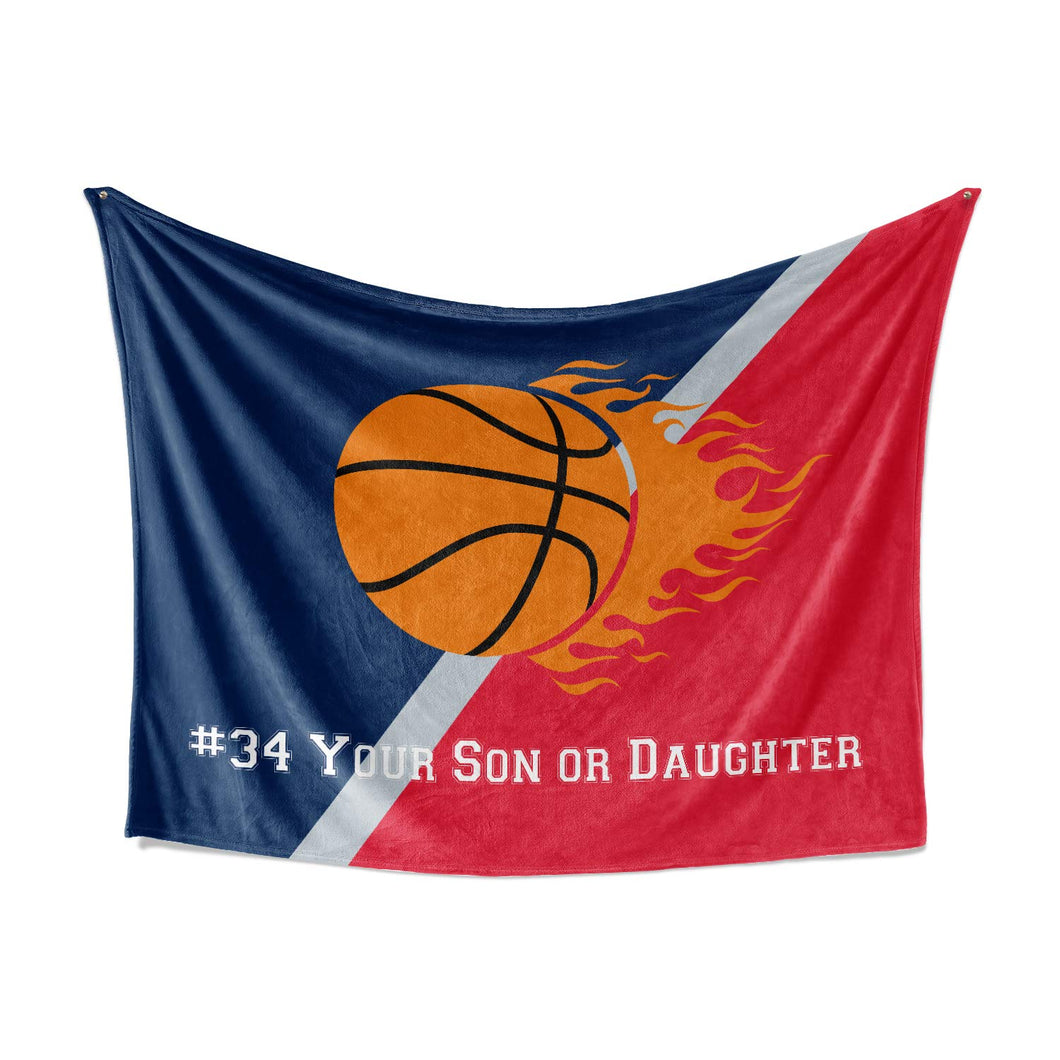 Washington DC Custom Youth Basketball Fleece Throw Blanket - Personalized Kids Team Blankets for Boy Girls Sports