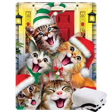 Morebee Christmas Cat Selfie Fleece Throw Blanket Custom Design Soft Lightweight Blanket for Bed Couch Sofa Travelling Camping(30