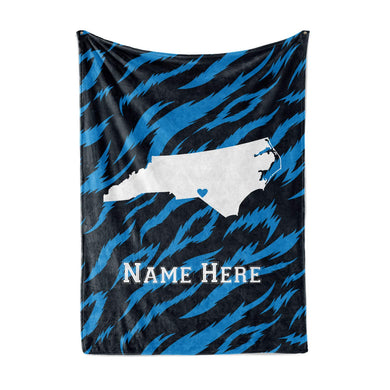 Personalized Corner Charlotte North Carolina Fleece Throw Blanket - Custom State Pride Series Blankets Extra Large Warm Throws for Family Football Watching