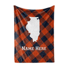 Load image into Gallery viewer, Personalized Corner Chicago Illinois Fleece Throw Blanket - Custom State Pride Series Blankets Extra Large Warm Throws for Family Football Watching