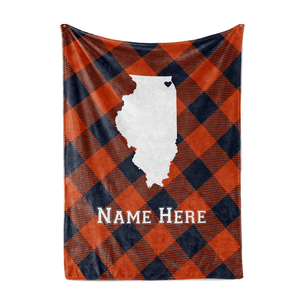 Personalized Corner Chicago Illinois Fleece Throw Blanket - Custom State Pride Series Blankets Extra Large Warm Throws for Family Football Watching