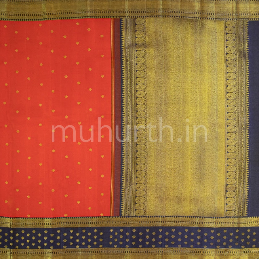 Kanjivaram Bright Red Silk Saree With Vijaya