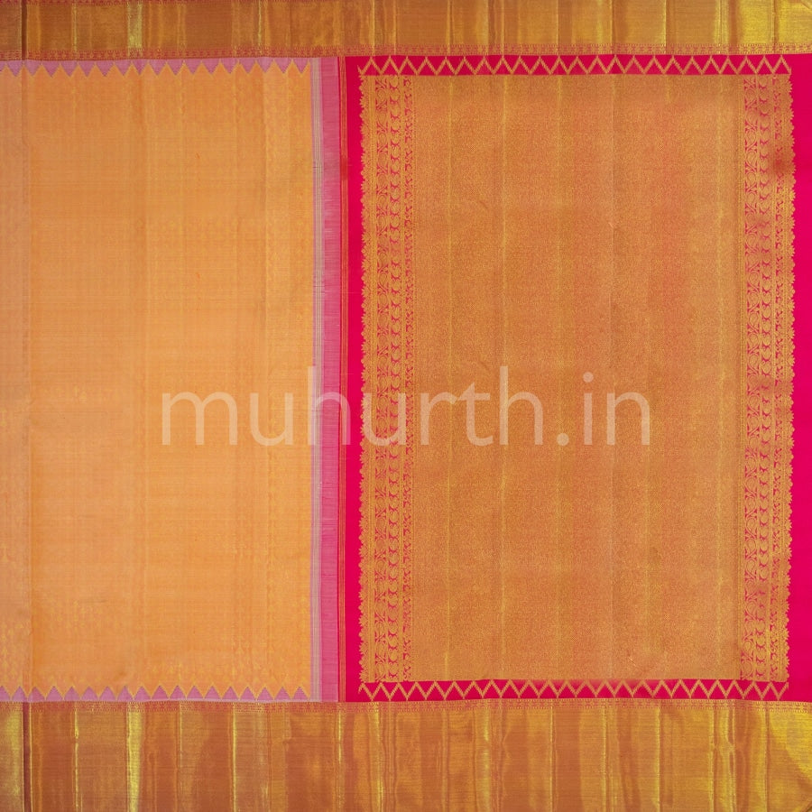 Kanjivaram Carrot Silk Saree With Rose