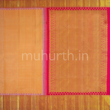 Load image into Gallery viewer, Kanjivaram Carrot Silk Saree With Rose