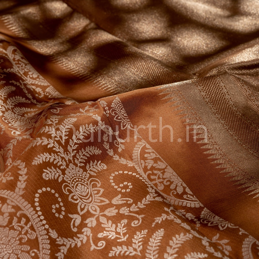 Kanjivaram Chocolate Brown Silk Saree