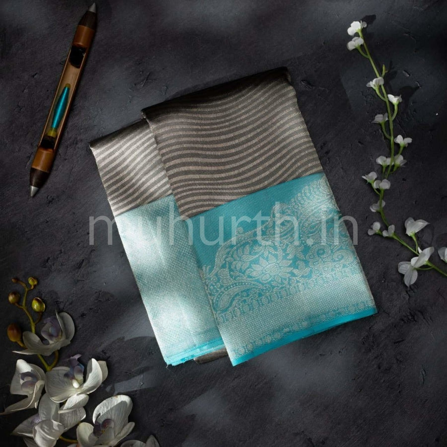 Kanjivaram Dark Grey With Light Ananda Silk Saree