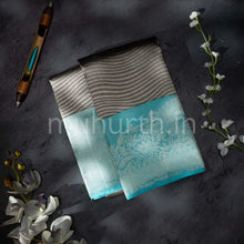 Load image into Gallery viewer, Kanjivaram Dark Grey With Light Ananda Silk Saree