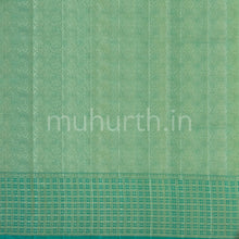 Load image into Gallery viewer, Kanjivaram Golden Mustard Silk Saree With Ananda Checks Muhurth