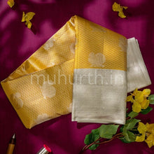 Load image into Gallery viewer, Kanjivaram Golden Mustard Silk Saree With Off-White
