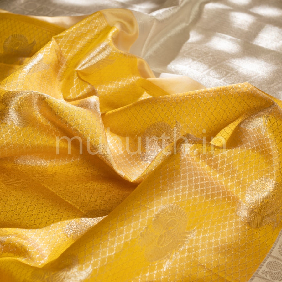 Kanjivaram Golden Mustard Silk Saree With Off-White