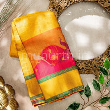 Load image into Gallery viewer, Kanjivaram Golden Mustard Silk Saree With Rose