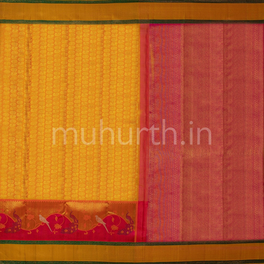 Kanjivaram Golden Mustard Silk Saree With Rose