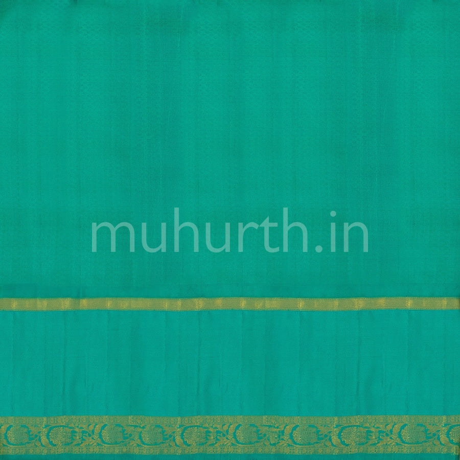Kanjivaram Lemon Green Silk Saree With Deep Sky Blue
