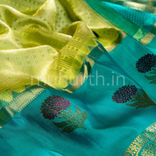 Load image into Gallery viewer, Kanjivaram Lemon Green Silk Saree With Deep Sky Blue
