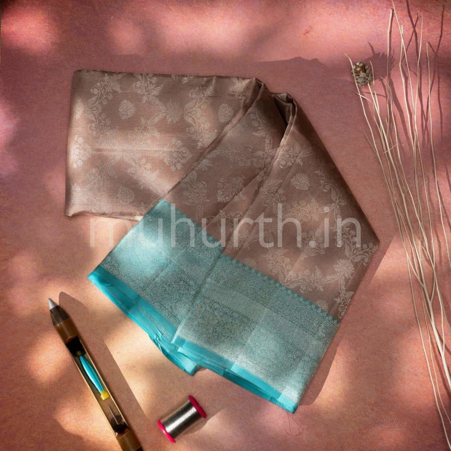 Kanjivaram Light Brown With Ananda Silk Saree