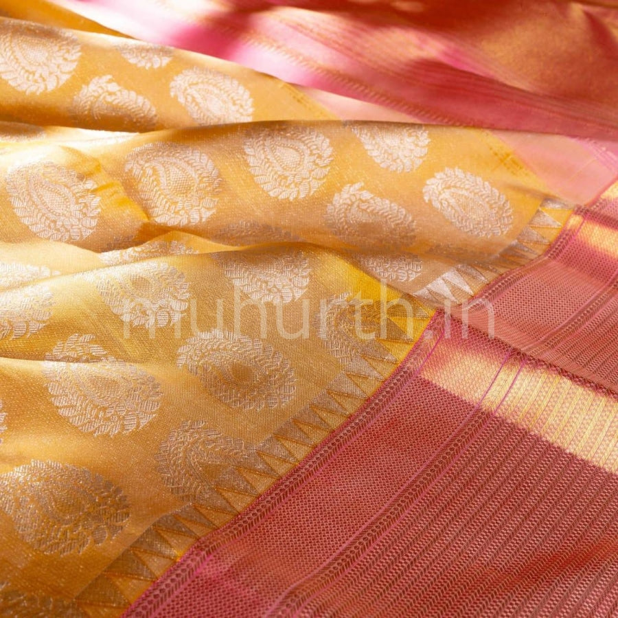 Kanjivaram Light Mustard With Pink Silk Saree