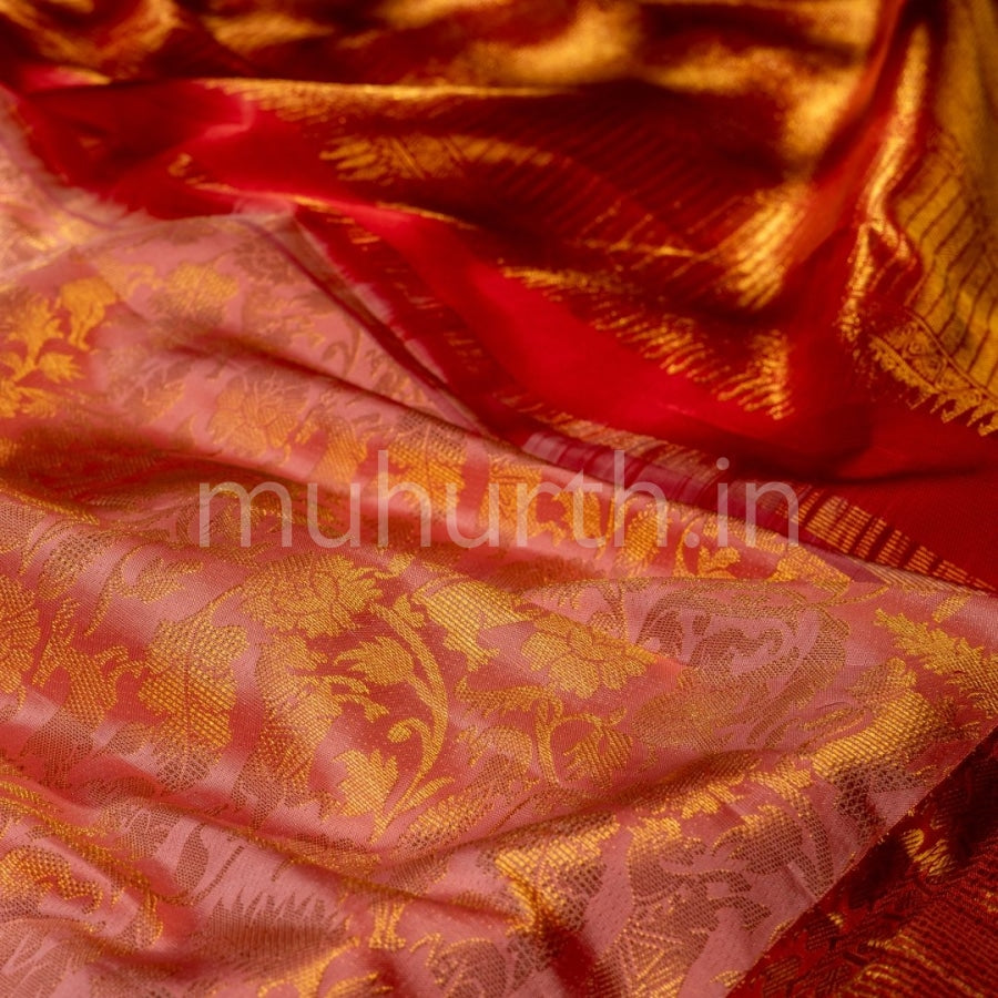Kanjivaram Light Pink Silk Saree With Bright Red