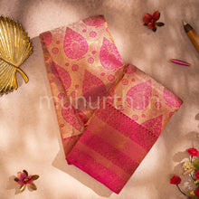 Load image into Gallery viewer, Kanjivaram Off-White Silk Saree With Rose