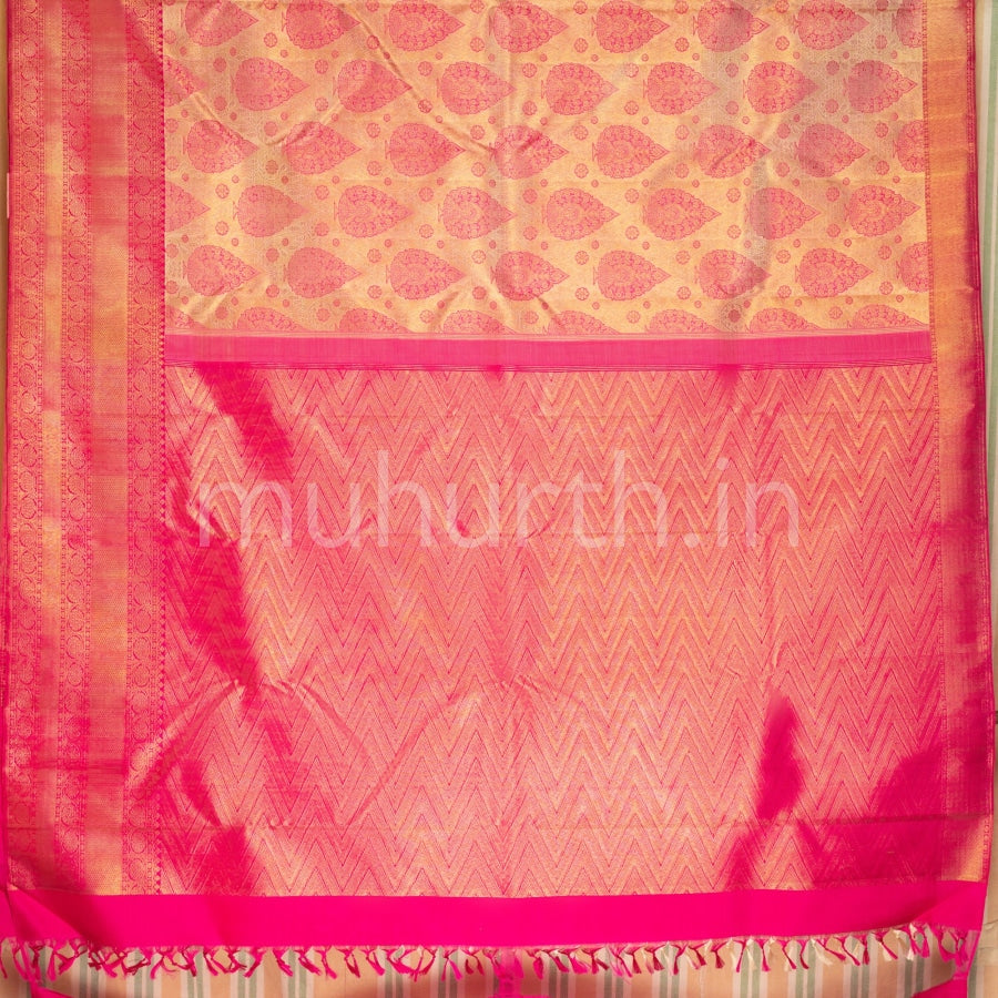 Kanjivaram Off-White Silk Saree With Rose