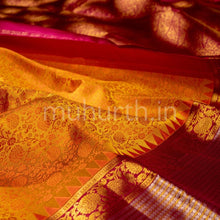Load image into Gallery viewer, Kanjivaram Orange Rose Silk Saree