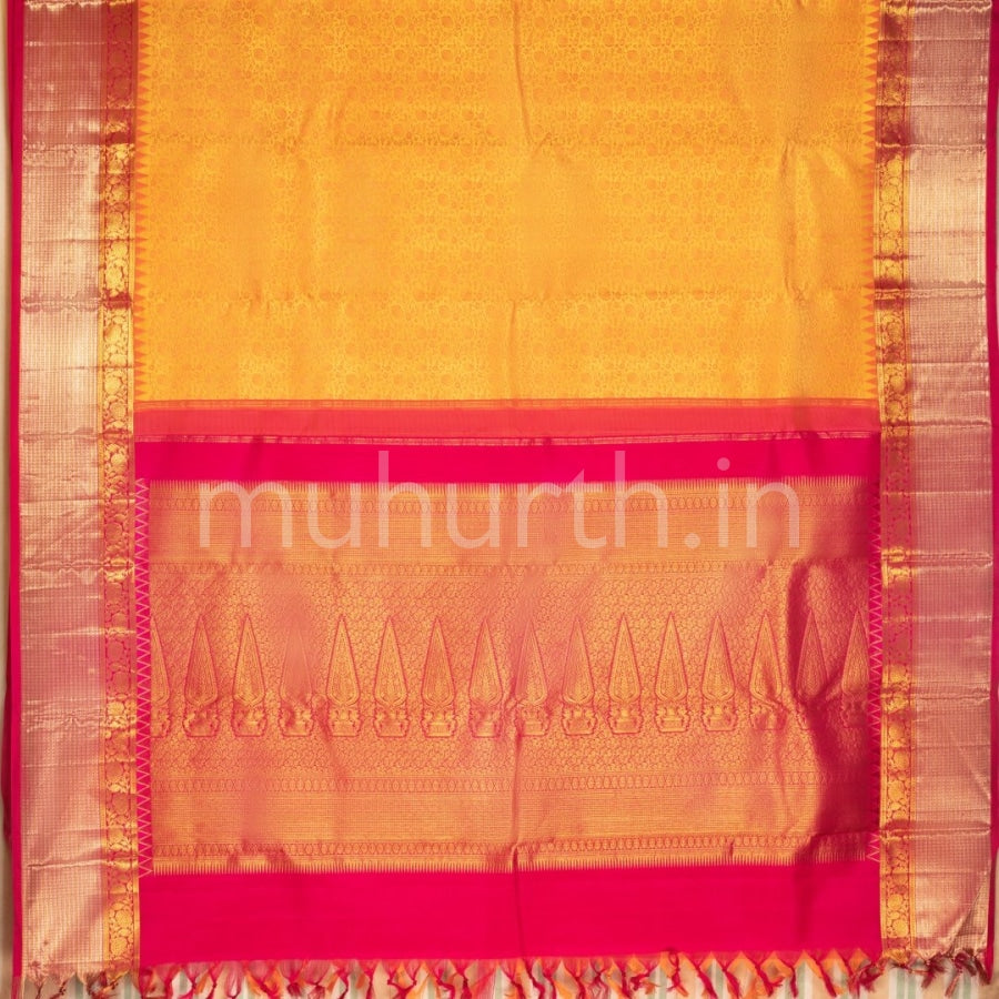Kanjivaram Orange Rose Silk Saree