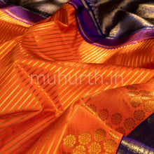 Load image into Gallery viewer, Kanjivaram Orange Silk Saree With Vijaya Muhurth