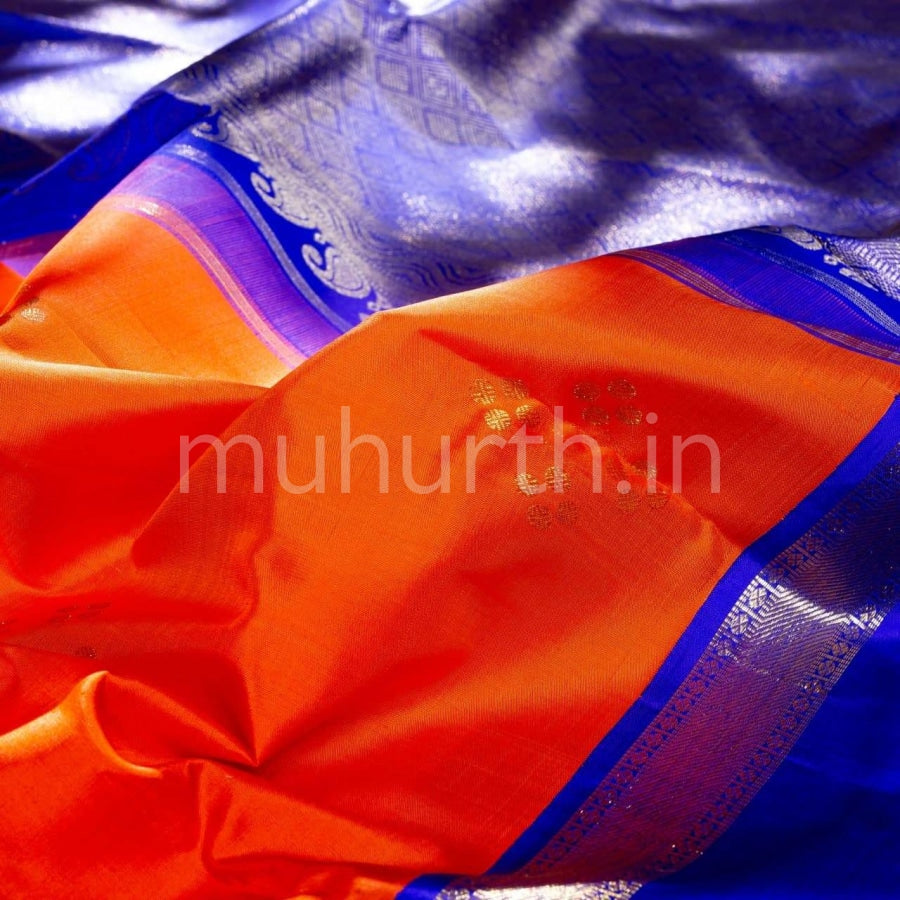 Kanjivaram Orange With Violet Silk Saree