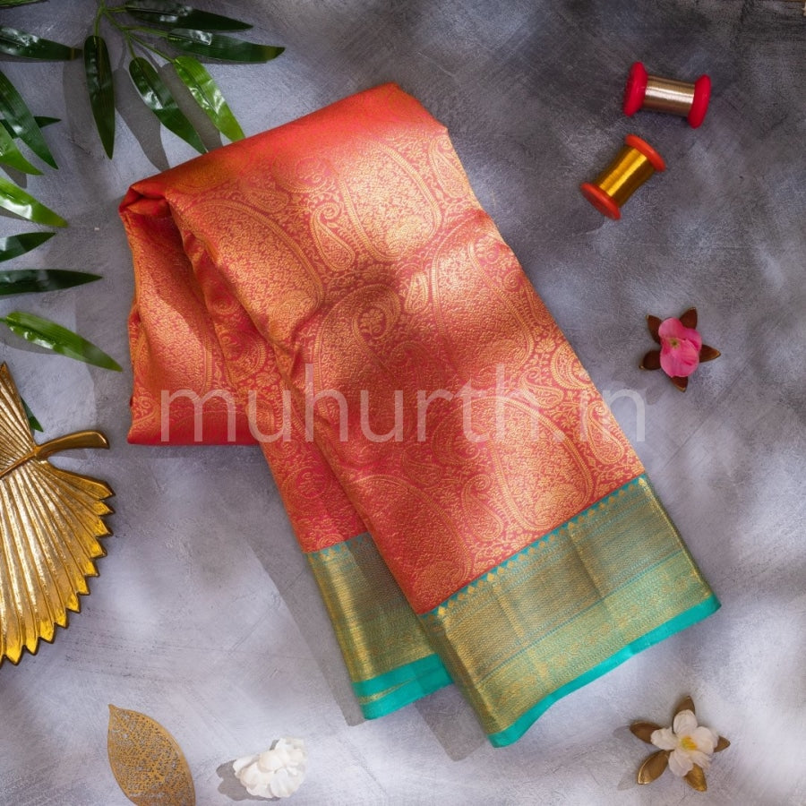 Kanjivaram Peach Silk Saree With Rexona