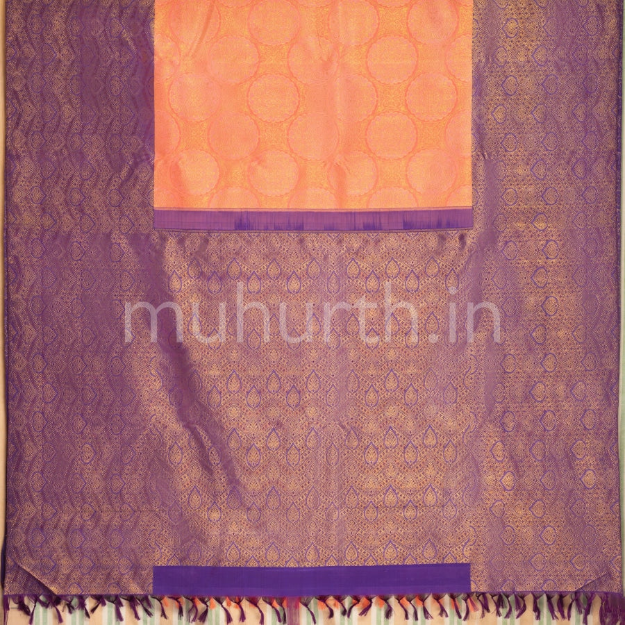 Kanjivaram Peach Silk Saree With Violet