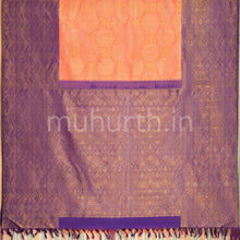 Load image into Gallery viewer, Kanjivaram Peach Silk Saree With Violet