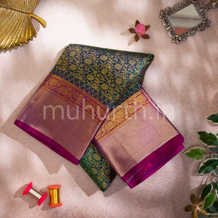 Kanjivaram Peacock Green Silk Saree With Rose