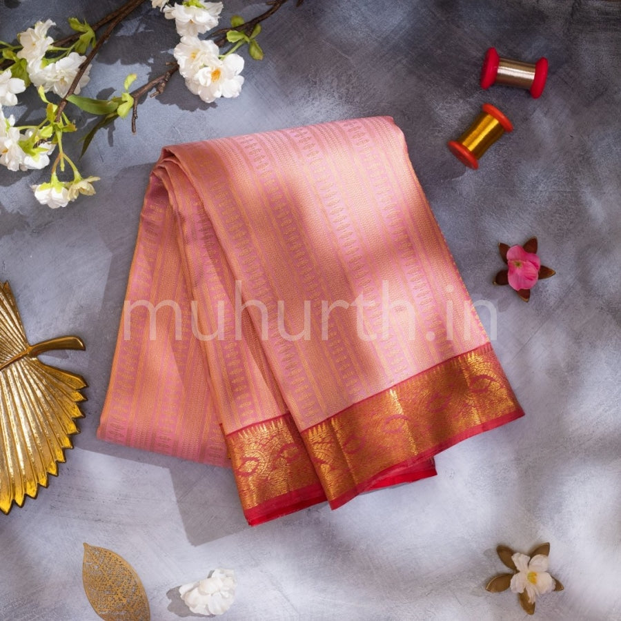 Kanjivaram Pink Silk Saree With Red