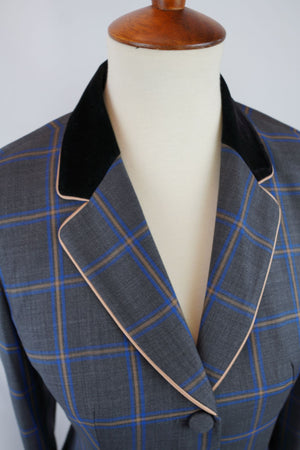 Gray Plaid + Gold Trim Hunt Coat (Various Sizes)