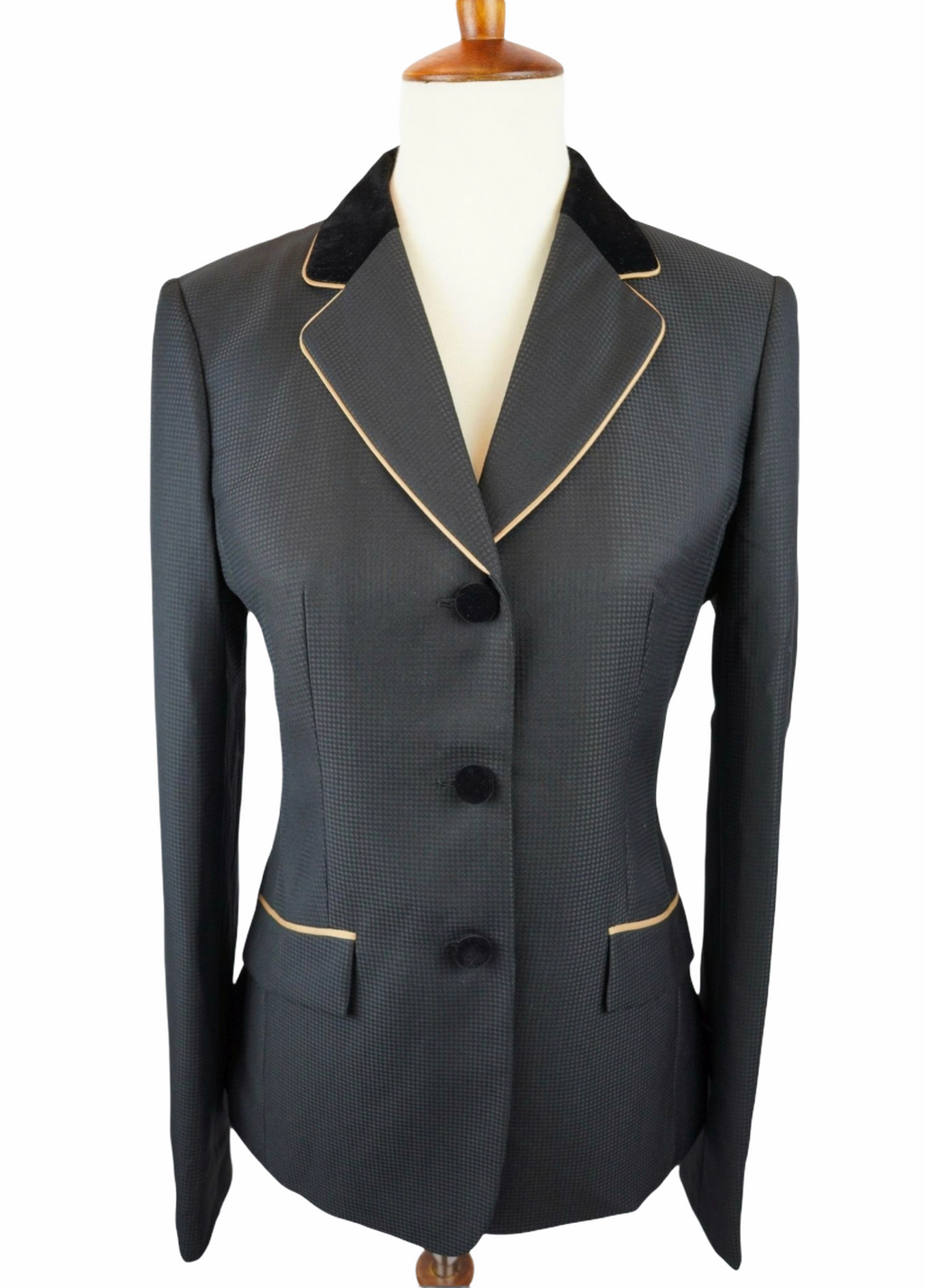 Black Solid + Gold Trim Hunt Coat (Various Sizes)