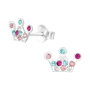 The crown - 925 Sterling Silver Kids Ear Studs with Crystal