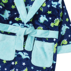 Dino all over|Hooded Robe for Boys