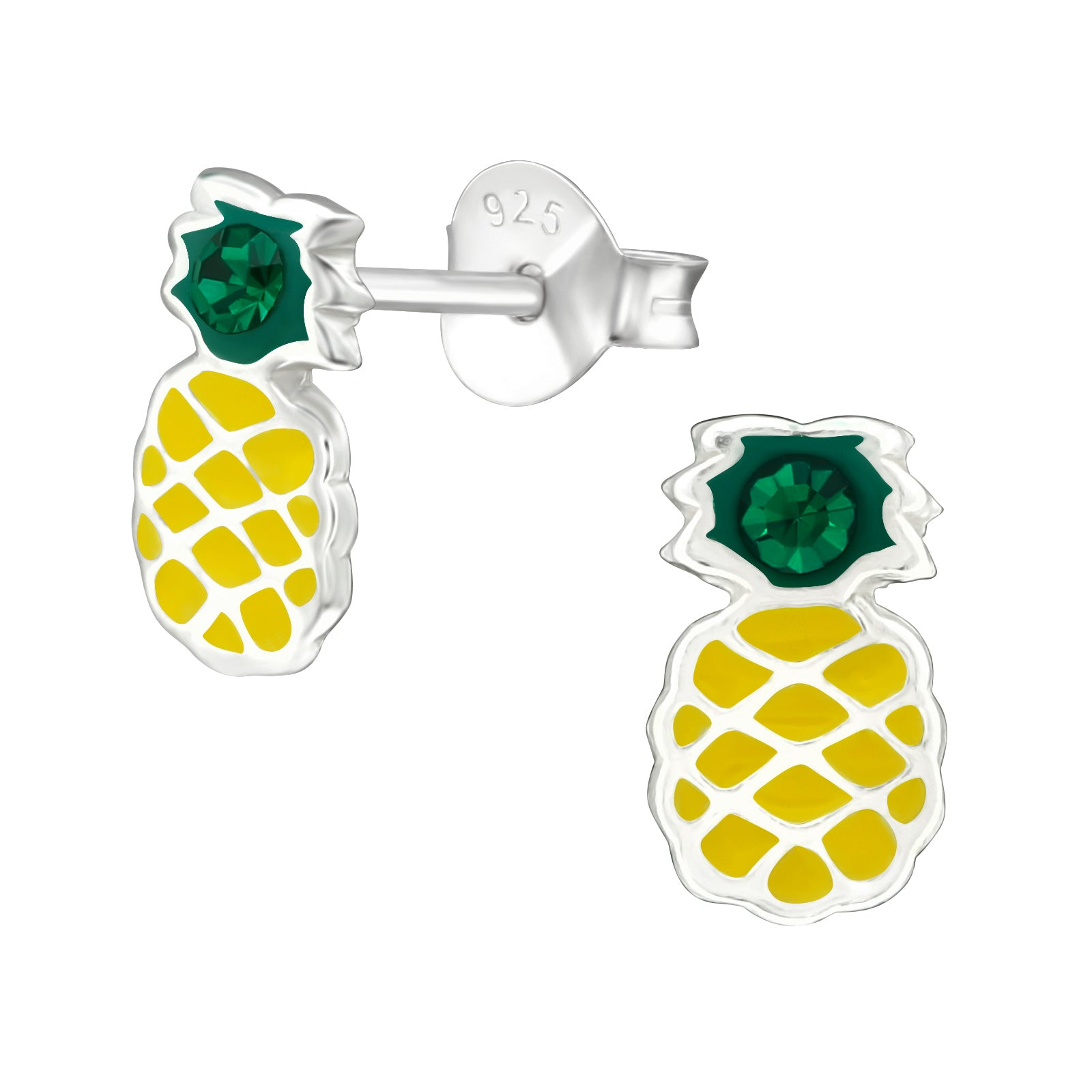 Pineapple - 925 Sterling Silver Kids Ear Studs with Crystal