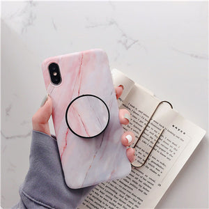 iPhone Case Marmor & PopSocket 11 PRO MAX, 11 PRO, 11, XR, XS MAX, XS, X, 7/8 PLUS, 7/8