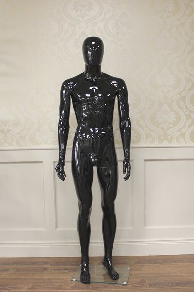 Black Gloss Male Mannequin Hands By Side