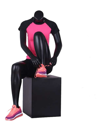 Female Black Gloss Sports Sitting