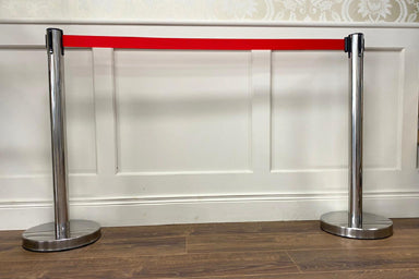Tape Security Barrier - Red - Single Post With Belt